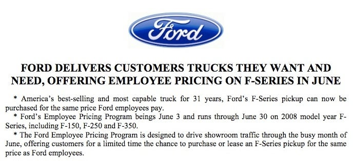 Ford Issues Most Pathetic Press Release Of All Time, Offers Employee Pricing On All F-Series Trucks