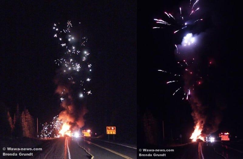 Canadian Truck Explodes After Hitting Moose, Sets Off Fireworks Display