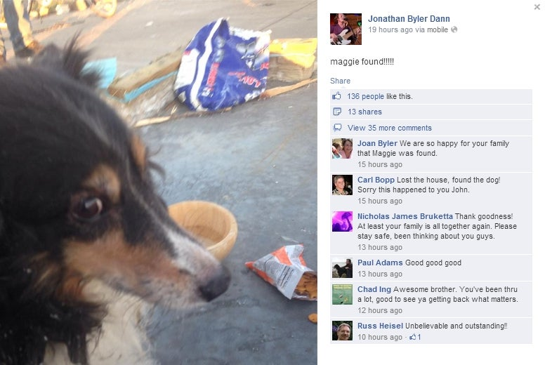 Tornado Victim's Missing Dog Found Alive Beneath Demolished Home
