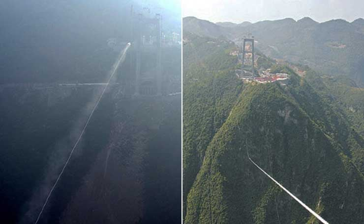 World's Tallest Bridge Goes Up in China with the Help of Some Rockets