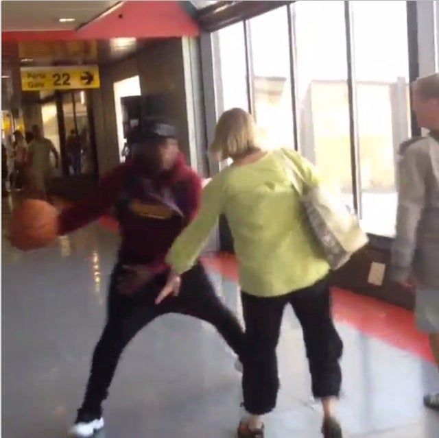 Just Nate Robinson Dribbling Around Random People At The Airport