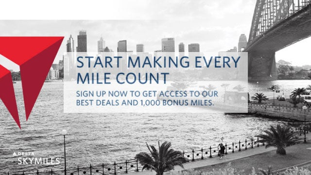 Sign Up for Delta Email Promotions, Get 1,000 Delta SkyMiles for Free