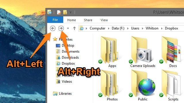 Navigate Folders Quicker in Windows Explorer with Alt+Left and Right