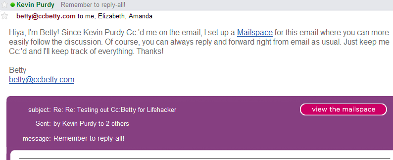 Cc:Betty Organizes Email Conversations and Attachments
