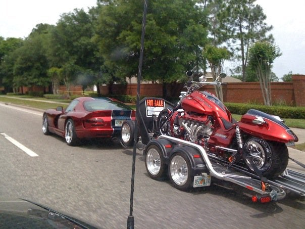 Total Wuss Uses Viper To Tow Viper-Powered Motorcycle