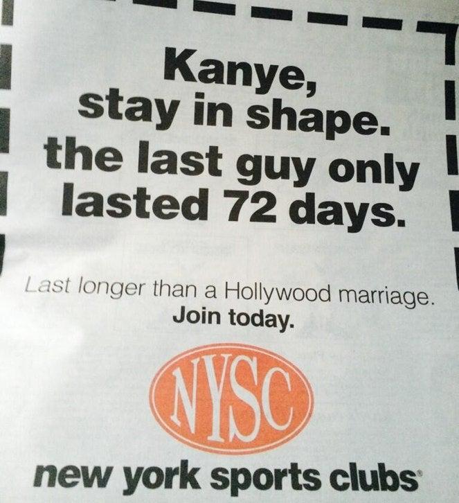 New York Sports Clubs Burns Kim and Kanye in Print Ad
