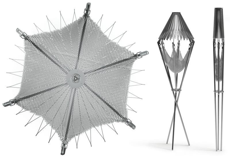 This Folding Origami Grill Has a Metal Mesh Hammock For Firewood