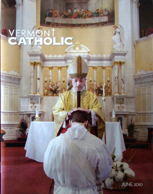 Vermont Catholic Magazine Cover Depicts Modern Day Observance of Church Rites