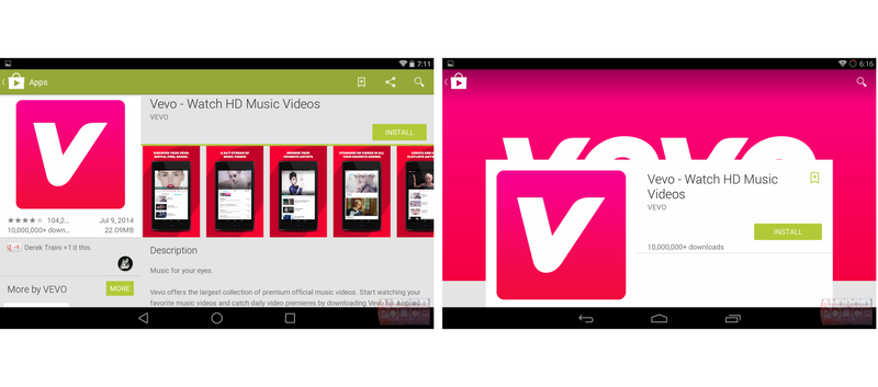 What Google Play Looks Like When Material Design Leaks In