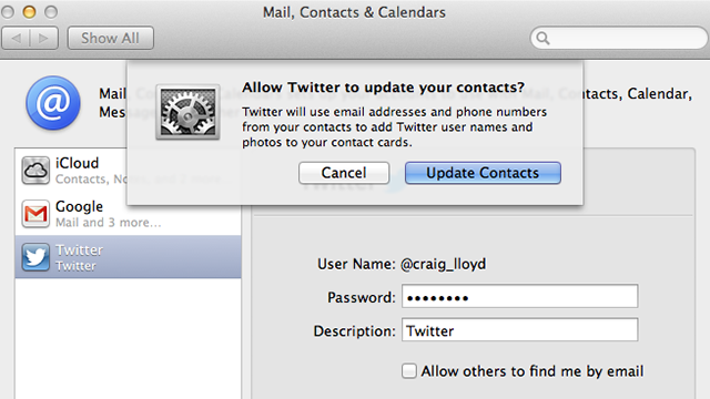 Import All Your Twitter Contacts into Mountain Lion with a Single Click
