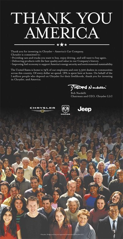 Chrysler Spends Taxpayers' Money on Ad Thanking Taxpayers