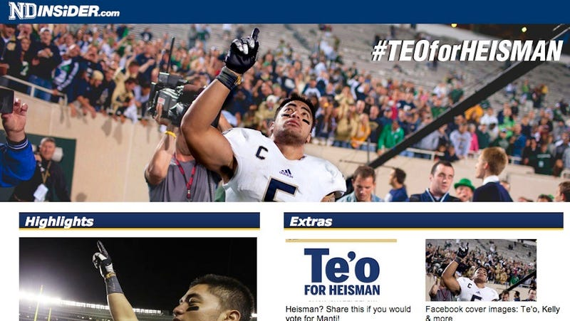 The Homers At The South Bend Tribune Launch An Embarrassing Heisman Campaign For Notre Dame's Manti Te'o