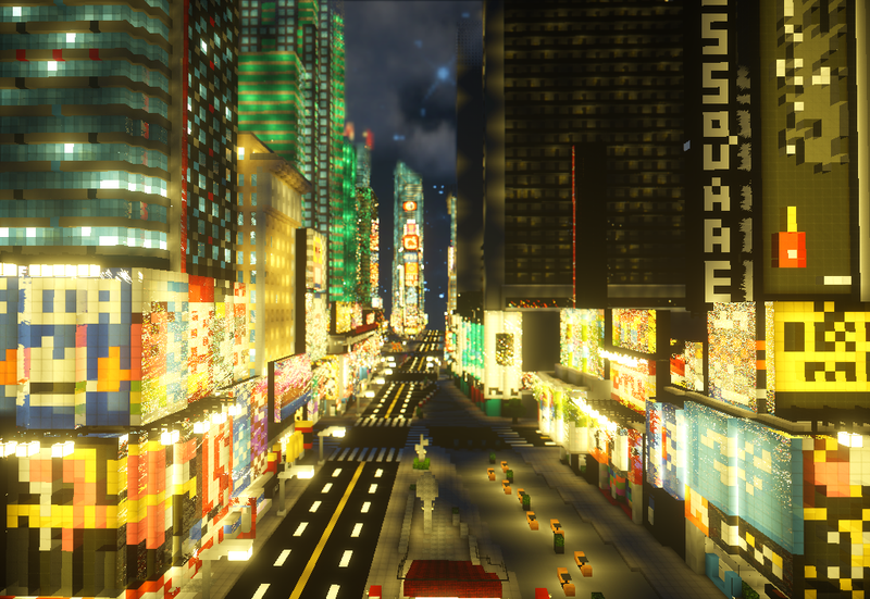 Minecraft Times Square Is Way Less Crowded