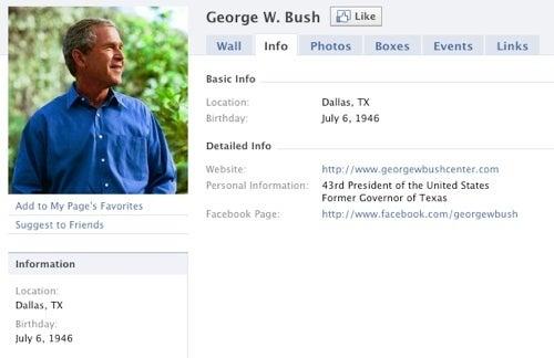George W. Bush Joins Facebook