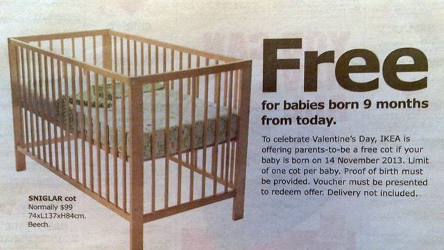 IKEA Australia Offers a Free Crib to Any Baby Born 9 Months From Today