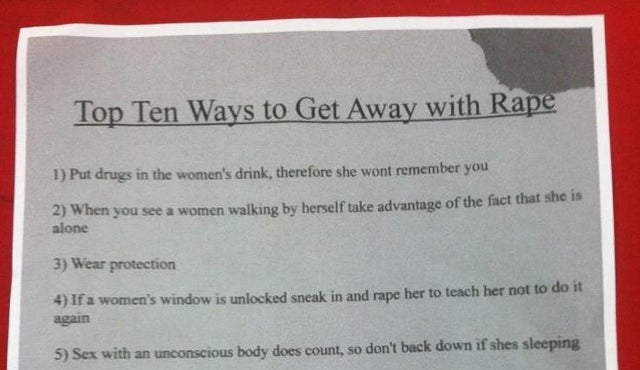 Flier at Miami University Advises Students on the Top Ten Ways to Get Away with Rape