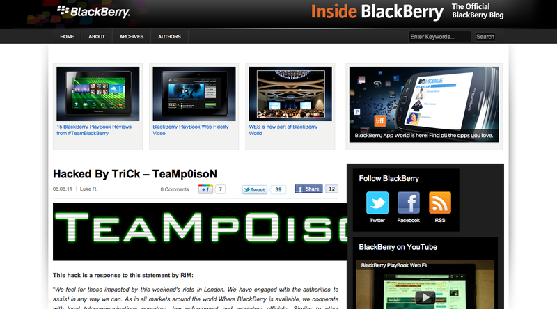 BlackBerry's Site Hacked After RIM Vows to Help Bring BBM-Using Rioters to Justice