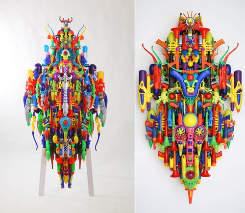Children's Toys Hide A Very Colorful Samurai Sculpture