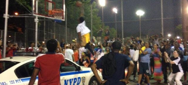 Dude Dunks Over NYPD Cop Car