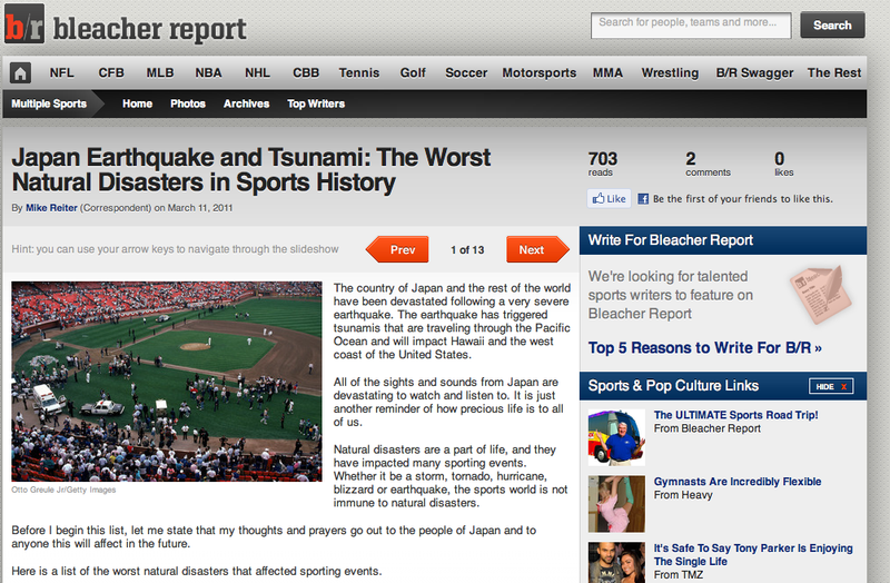 Bleacher Report Uses Japan Earthquake As Excuse For Sports Slideshow