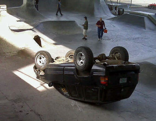 Jeep Backflips At Portland Skate Park