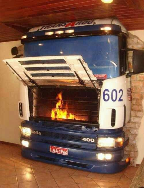 Tired of car themed lounges?Have a truck themed fireplace