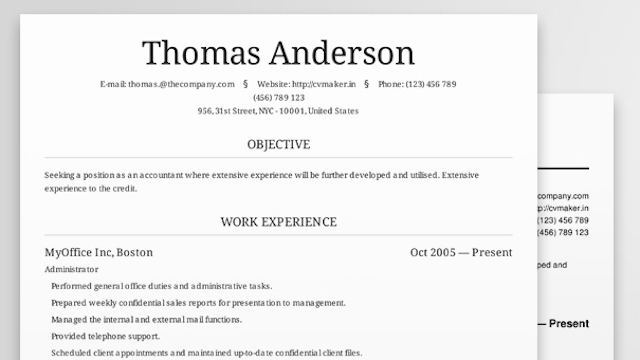 cv maker creates beautiful professional looking resumes