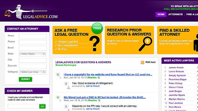 Get Free Legal Advice from Actual Lawyers at LegalAdvice.com. No, Really.