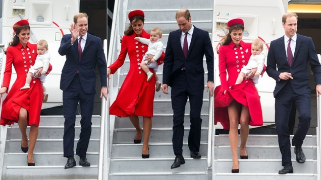 Duchess Kate, Prince William and Prince George Deplane in High Style
