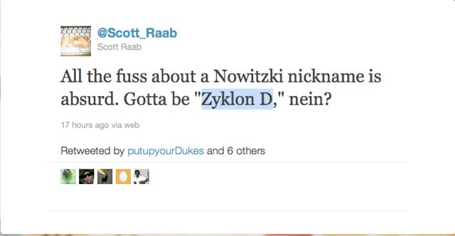 Why Yes, One Cleveland Writer Did Offer Up A Nazi Death-Camp Gas For Use As Dirk Nowitzki's Nickname