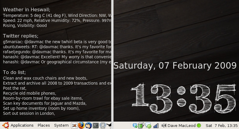To-Dos, Weather, and Twitter on a Linux Desktop