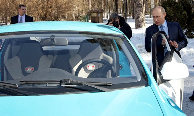 Studly Vladimir Putin Not Afraid to Drive Girly Car