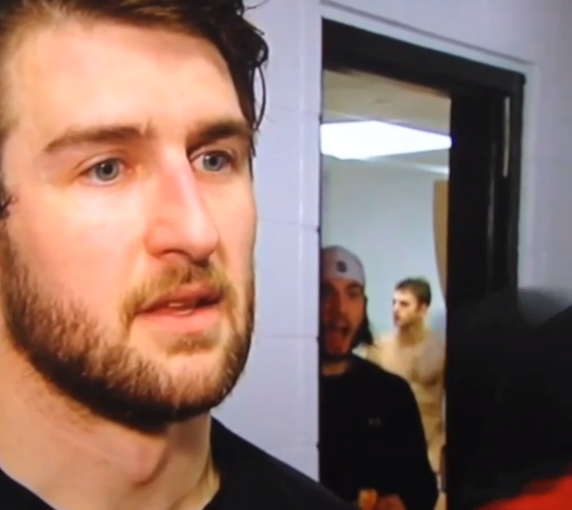 Tanner Glass Postgame Features Buck Naked Pens Player In Background