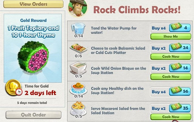 ChefVille 'Rock Climbs Rocks' Catering Order: Everything You Need to Know