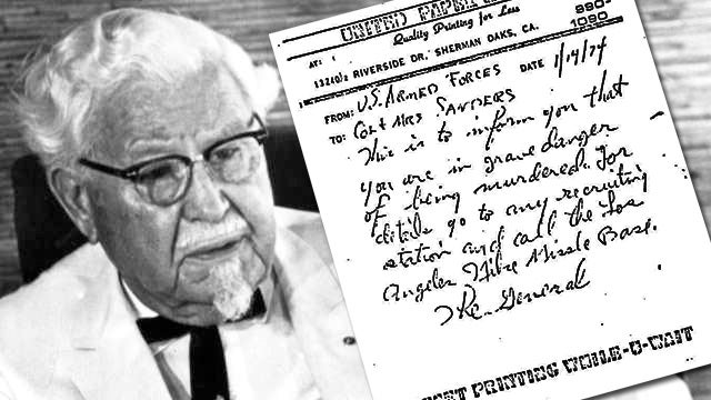 Did General Tso Threaten Colonel Sanders?