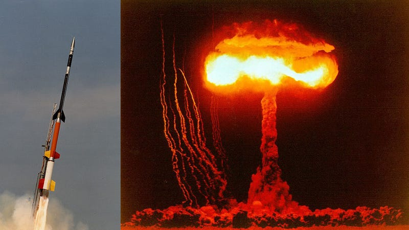 What Are Those Strange Thin Smoke Columns Around Nuclear Bomb Tests?