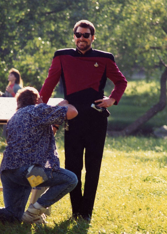 What is Commander Riker saying in this picture?