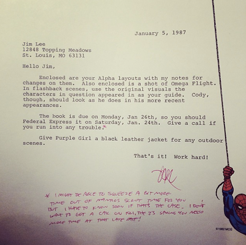 Jim Lee's rejection letters from Marvel and DC