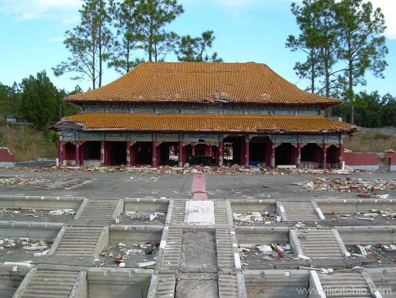 A dilapidated recreation of China, right outside of Disney World