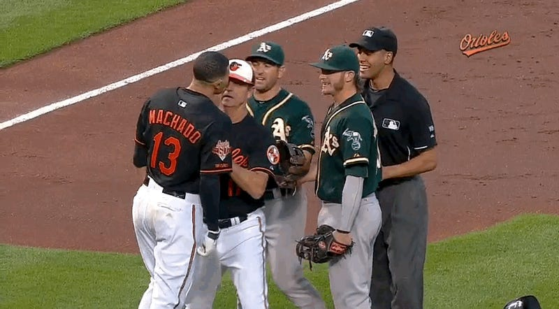 Benches Clear Because Manny Machado Did Not Like Josh Donaldson's Tag