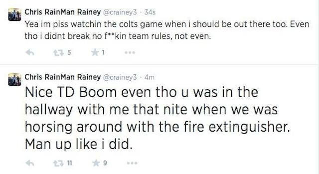 """Chris Rainey: Waived For """"Horsing Around With The Fire Extinguisher"""""""