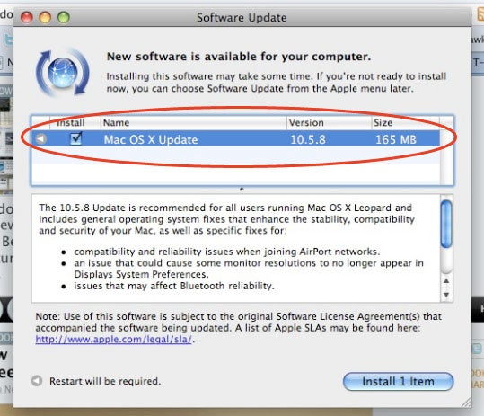 Mac OS X Leopard 10.5.8 Out Now