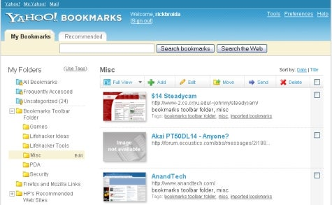 Yahoo serves up new bookmarking tools