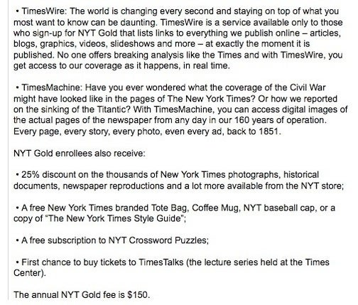 The New York Times Describes Online 'Membership' Plans