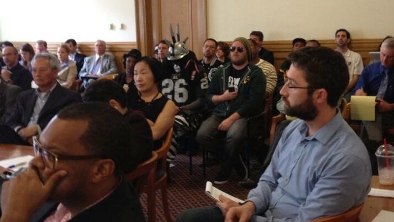 """Raiders Fan """"Dr. Death"""" Campaigns For New Stadium At Public Meeting"""