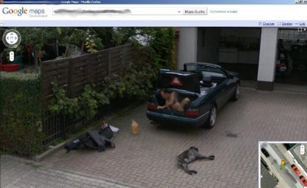 Naked Guy in Trunk on Google Street View