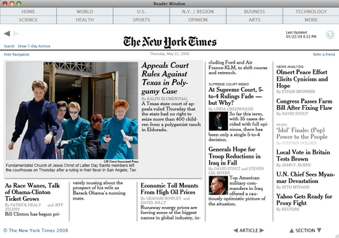 New York Times Reader Now Available for Mac
