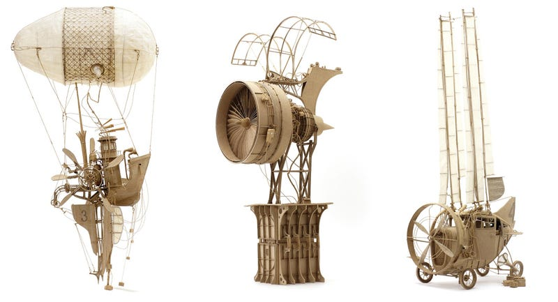 Intricate Cardboard Models of Theoretical Flying Machines
