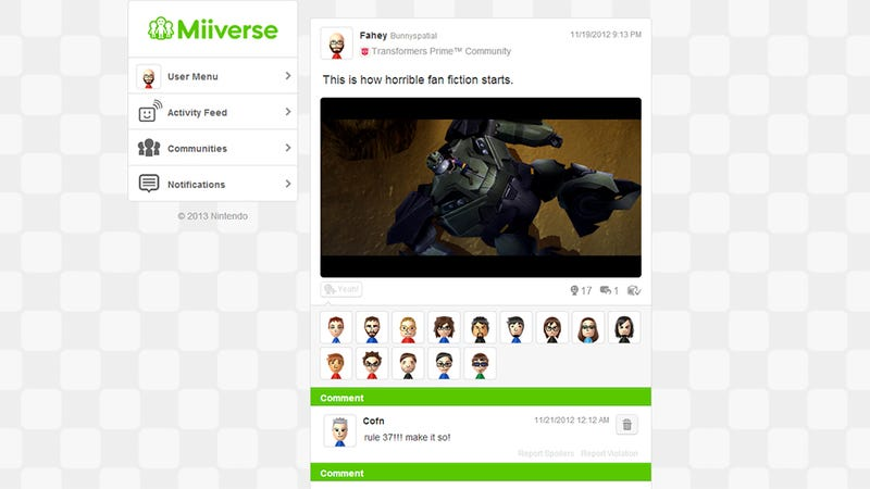 Nintendo Puts The Miiverse On The Web