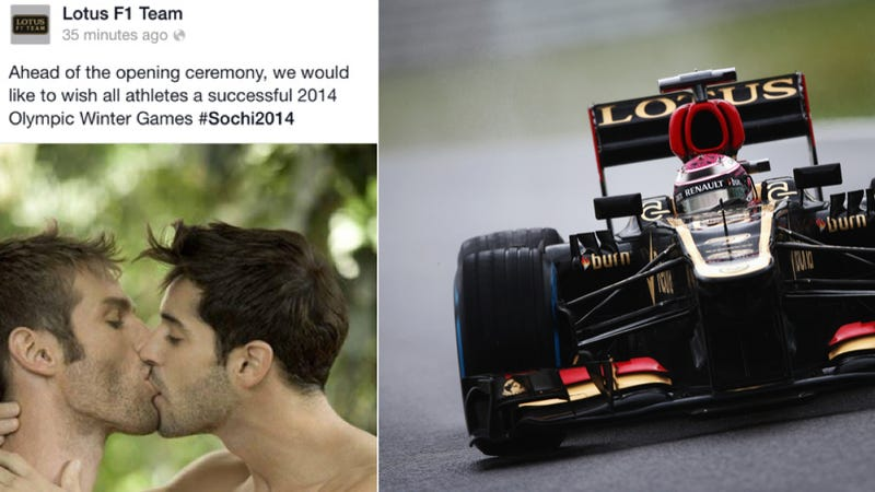 Lotus F1 Apologizes For Tweeting Two Dudes Kissing Before Olympics